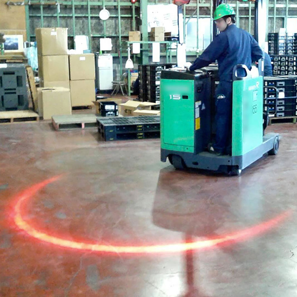 The only one LED light that realizes a safe working environment Visualizing warning zone for vehicles